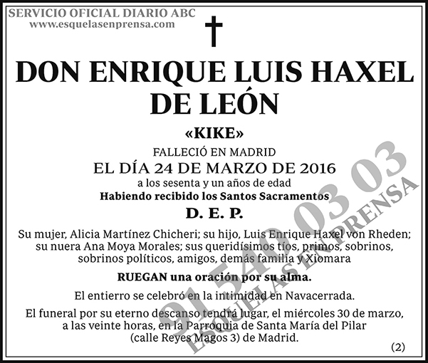 Enrique Luis Haxel de León